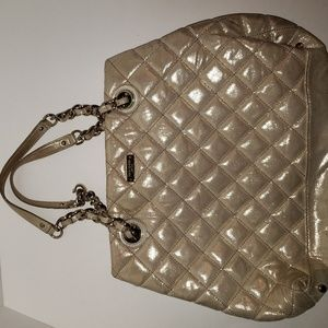 Kate Spade Tan Beige Shiny Gold Quilted Chain Bag